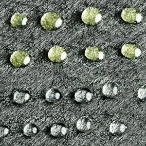 water droplets on coated fabric